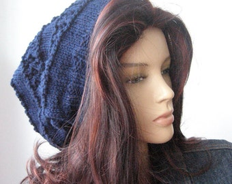 Hand Knit Hat, Lace Striped Slouchy Knit Hat, The Stacey Hat,  Vegan Knits, Womens Accessories, Big Slouchy Hat