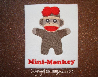 Mini-Monkey, Sock Monkey 3, INSTANT DIGITAL DOWNLOAD, Embroidery Design for Machine Embroidery 5x7