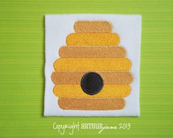 Bee Hive, INSTANT DIGITAL DOWNLOAD, Bumble Bee Embroidery Design for Machine Embroidery 4x4