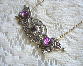 Magenta Purple Pendant And Necklace
