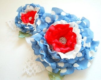 Blue Red Polka Dots Bridal Hair Clip Corsage, Flowers for Sash, Polka Dots Weddings Accessories, Bridesmaids Flower Girls Hair Clips