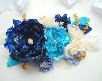 Navy Cobalt Aqua Blue Ivory Bridal Sash Belt, Maternity Pregnancy Flower Satin Sash, Weddings Blue Accessories, Bridesmaids, Something Blue