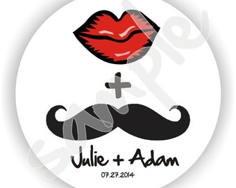 Personalized Stickers - Mustache Stickers - 5 sheets - Wedding Labels - Bridal Shower Labels - Thank You Stickers - Custom Favor Labels