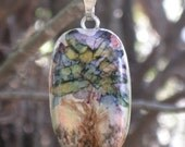 Handmade Hand Painted Alcohol Ink Abstract Modern Multi Colored Tree on Polymer Clay Art Pendant