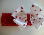 Valentine Boutique Bow with coordinating Headband, Red Heart Single Boutique Hair Bow, Baby Infant Headband