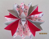 Easter Sheep, Pink and Grey, Boutique Spike Pin Wheel   Hair Bow .