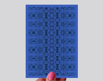 Blue Geometric Beat Print Greeting Card