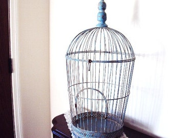 Victorian Style Metal Birdcage Robins Egg Blue Chippy distressed Metal Decorative Display