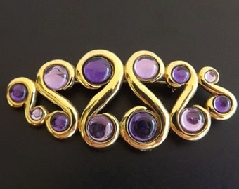 Vintage Brooch Purple Rhinestones Trifari Designer Signed Fashion Jewelry Dressy Casual Geometrical