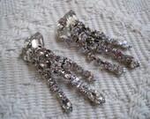Vintage Rhinestone Dangle Clip-on Earrings  Glam Wedding Prom