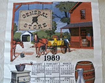 Vintage 1989 Calendar Tea Towel Kay Dee