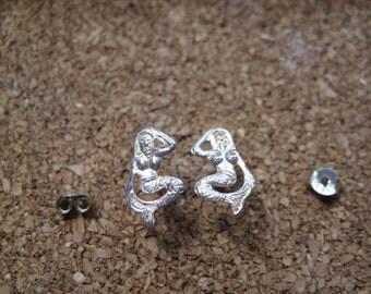 mermaid earrings sterling silver tiny pierced post studs