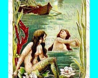s444 VINTAGE ART NOUVEAU Mermaid Postcard Mermaids Fabric Blocks Mermaid Applique for Quilt.