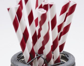 25 Maroon Burgundy Stripe Paper Straws - Perfect for Parties - Favors--Free Editable DIY Tags PDF