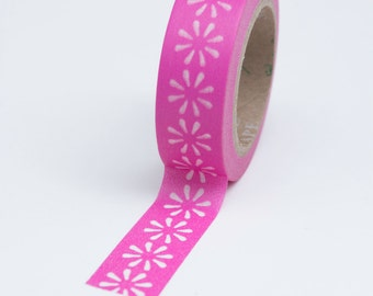 Washi Tape - 15mm - White Daisies on Pink - Deco Paper Tape  No. 730