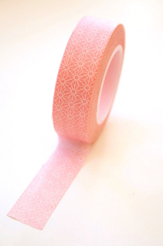 Washi Tape - 15mm - Pink and White Geometric Pattern - Deco Paper Tape No. 346