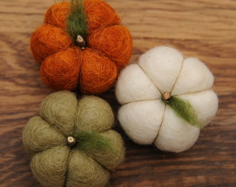 Felted Wool Pumpkins in  Orange, Sage Green & White set of 3, pick your colors