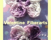5 Petals handcrocheted cotton thread flower in plum and white