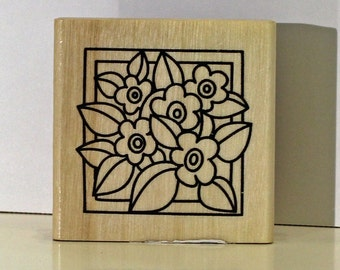 Flowers Popping Out of a Square Frame Rubber Stamp