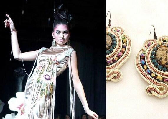 big bold earrings , gold and green , handmade earrings