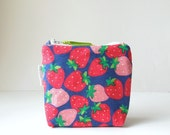 Red and Pink Strawberries Cotton Coin Purse