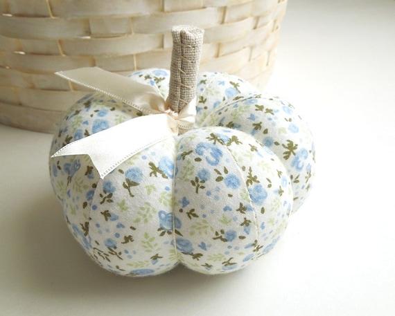 Blue Floral Pumpkin Pincushion
