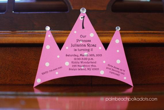 10 Princess Tiara Tea Party Birthday Invitations