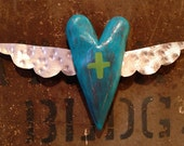 Little turquoise winged heart magnet