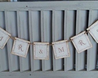 Mr and Mrs Wedding Beach Nautical Banner Party Decoration Bunting Garland Photo Prop Last One Left