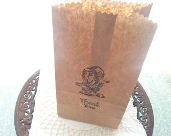 Alice in Wonderland Mad Hatter Thank You Favor Bags Brown Paper Tea Party Decorations Set of 10