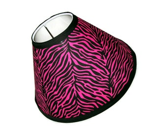 Hot Pink Zebra Print Lamp Shade with black trim