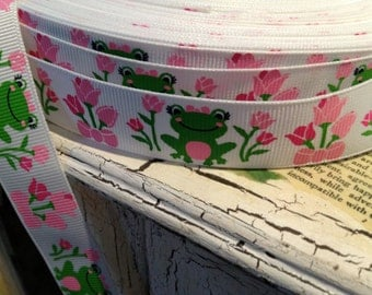 """7/8"""" Preppy Frog and Spring Flower Tuilps Grosgrain Ribbon sold by the yard"""
