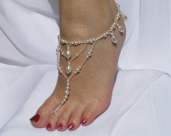 Barefoot Sandal White Pearl Wedding Foot Jewelry Destination Wedding Gift for Bride Bridal Sandals Swarovski Pearl Bridal Anklet Size 7
