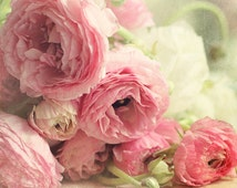 """pink ranunculus fine art print,shabby chic decor, """"The first bouquet"""",pastel photograph,floral photography,pink,green,flowers,square print"""