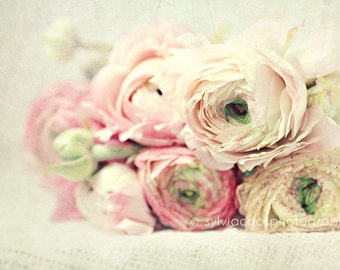 "shabby chic home decor, ""Ranunculus"" fine art print, romantic, pink, white, green, floral photography, still life"