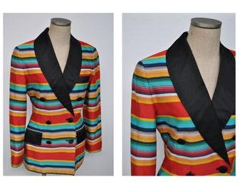 vintage perry ellis 1980s blazer jacket rainbow 80s designer MARC JACOBS era