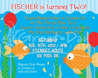 Funky Fish Birthday Party Custom Invitation With or Without Photo
