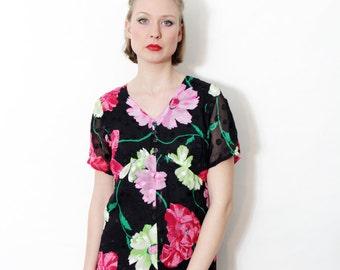 Vintage dress / 70s floral dress / size M