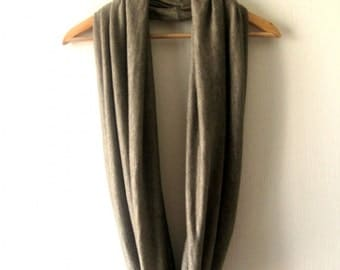 SALE - Bronze Brown Infinity Scarf - Delicate Spring Soft Jersey Circle Scarf Cowl Neckwarmer
