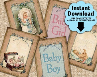 Precious Babies / Baby Shower Infant Baby Boy Baby Girl Tags - Printable ATC, ACEO, Hang Tags, Instant Download and Print Digital Sheet