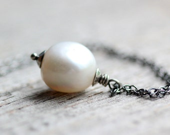 June Birthstone Large Pearl Necklace on Sterling Silver Chain - Lotus Moon - Freshwater Pearl Pendant Winter White Wedding Fashion