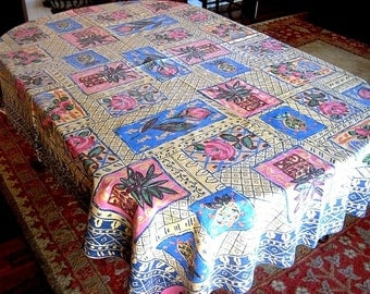 RETRO Vintage TABLECLOTH Cotton Print Tex Mex Fiesta Party Southwest Design 83""