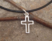 Boy's First Communion cross - Boy's cross necklace - Confirmation necklace - Sterling silver cross necklace on leather cord