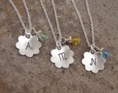 Little Girl's initial necklace - Dainty Flower girl necklace - Girl's birthstone necklace - Photo NOT actual size