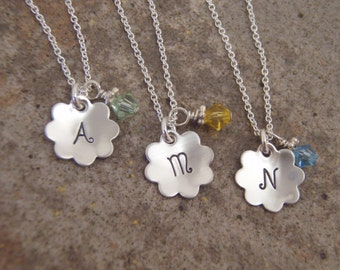 Girl's initial necklace - Flower girl necklace - ONE necklace of choice - Girl's birthstone necklace - Photo NOT actual size