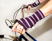 Short Purple Stripe Fingerless Gloves - Bamboo Eco Friendly