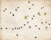 Constellations Art Print - Elegant Night Sky Stars Print - Black and White Sepia - Natural History Illustration - Outer Space Art