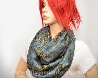 Pashmina Infinity scarf - Denim Gold Paisley scarf