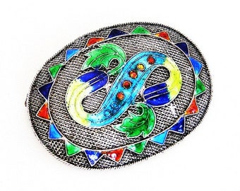 China Silver Import Colorful Enamel Brooch