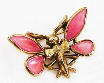 Pink Molded Glass Moth Brooch, Insect Jewelry, Figural Jewelry